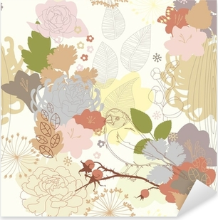 seamless background with abstract botanical ornament Pixerstick Sticker