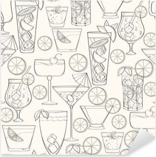 Seamless cocktail pattern Pixerstick Sticker