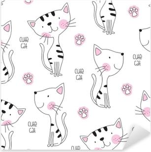 seamless cute cat pattern vector illustration Pixerstick Sticker