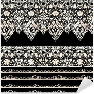 Sticker Pixerstick Seamless dentelle dentelle bandes de washi ruban motif sur fond noir