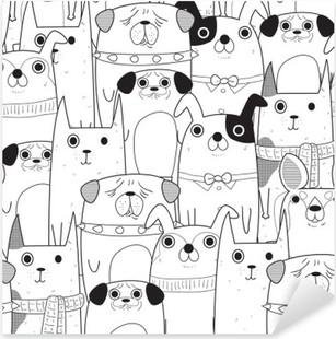 Seamless Dogs pattern Pixerstick Sticker