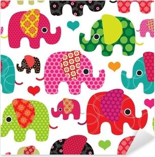 Sticker Pixerstick Seamless enfants d'éléphant de fond dans le vecteur