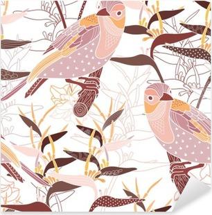 Sticker Pixerstick Seamless floral avec des oiseaux
