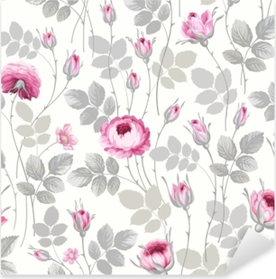 seamless floral pattern with roses in pastel colors Pixerstick Sticker