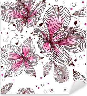 Sticker Pixerstick Seamless floral. Vector illustration.
