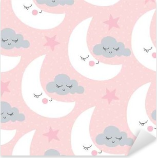 seamless moon and clouds pattern vector illustration Pixerstick Sticker