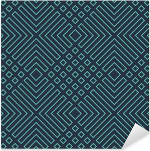 Seamless neon blue diagonal art deco geometric outline pattern vector Pixerstick Sticker