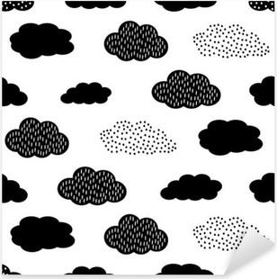 Sticker Pixerstick Seamless noir et blanc avec des nuages. Cute baby douche vector background. style de dessin des enfants illustration.