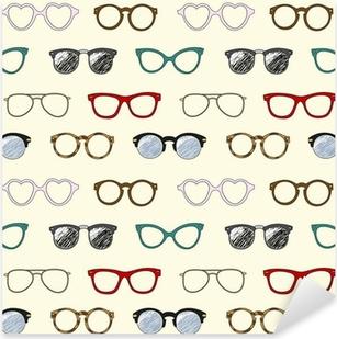 Sticker Pixerstick Seamless pattern avec des lunettes rétro et des cadres