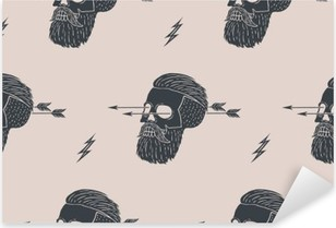 Seamless pattern background of vintage skull hipster with arrow. Graphic design for wrapping paper and fabric texture of shirt. Vector Illustration Pixerstick Sticker
