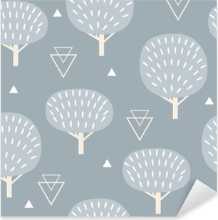 Seamless pattern in modern Scandinavian style. Vector geometry background of north nature. Pixerstick Sticker