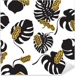 Seamless pattern made from the Monstera leaves Pixerstick Sticker