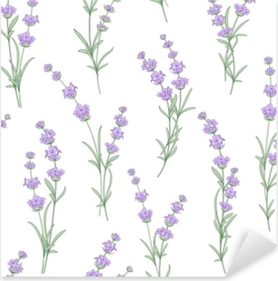 Seamless pattern of lavender flowers on a white background. Watercolor pattern with Lavender for fabric swatch. Seamless pattern for fabric. Vector illustration. Pixerstick Sticker