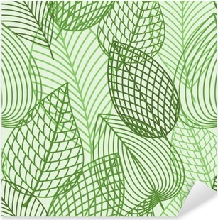 Seamless pattern of spring outline reen leaves Pixerstick Sticker
