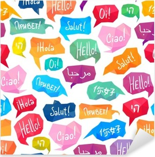 """Seamless pattern - speech bubbles with """"Hello"""" on different languages Pixerstick Sticker"""