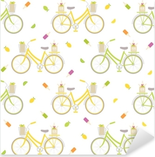 Seamless pattern with colorful bicycle, ice cream and lemons. Great for wrapping paper, posters, backgrounds for the site. Pixerstick Sticker