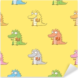 Seamless pattern with cute cartoon dragon in glasses on yellow background. Smart reptile with book. Funny animal. Vector contour image. Children's illustration. Pixerstick Sticker