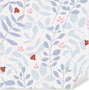seamless pattern with different leaves and ladybugs Pixerstick Sticker