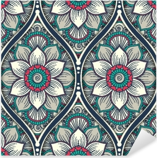 Seamless pattern with ethnic mandala ornament. Hand drawn vector illustration Pixerstick Sticker