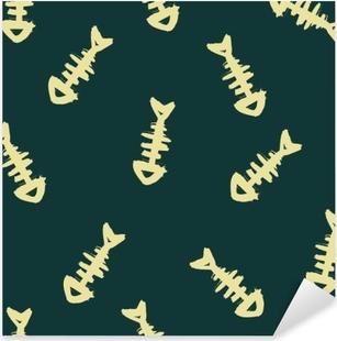 Seamless pattern with fish bones, doodle background, hand-drawn illustration. Pixerstick Sticker