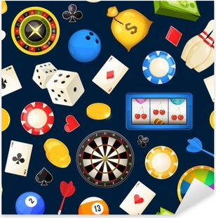 Seamless pattern with gambling and other casino entertainments. Poker, dice vector illustrations Pixerstick Sticker