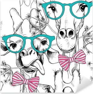 Seamless pattern with giraffes in the glasses and with bow. Vector illustration. Pixerstick Sticker