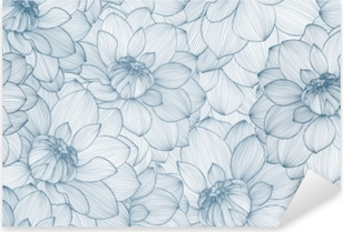 Seamless pattern with hand drawn dahlia flowers. Pixerstick Sticker