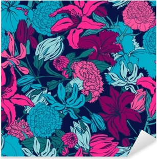 Seamless pattern with lilium, ylang, roses, carnation flowers. Colorful vector illustration. Print for home textile and clothes, fabric, textile Pixerstick Sticker