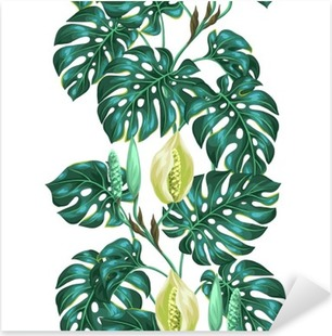 Seamless pattern with monstera leaves. Decorative image of tropical foliage and flower. Background made without clipping mask. Easy to use for backdrop, textile, wrapping paper Pixerstick Sticker