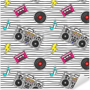 Seamless pattern with pop art stickers with tape recorder, cassette, vinyl record on modern texture with black stripes. Pixerstick Sticker