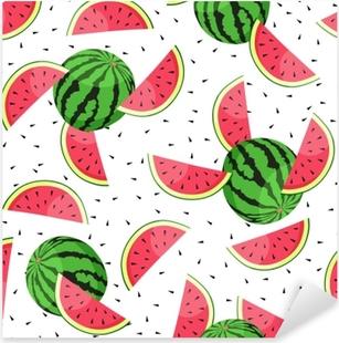 Seamless pattern with watermelon slices. Vector illustration. Pixerstick Sticker