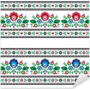 Seamless Polish folk pattern with flowers Pixerstick Sticker