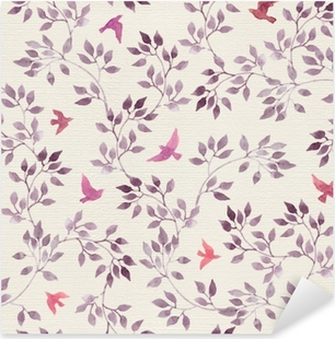 Seamless retro wallpaper with cute birds and ditsy hand painted leaves. Vintage watercolor Pixerstick Sticker