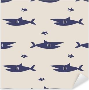 seamless shark pattern Pixerstick Sticker