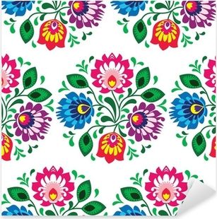 Seamless traditional floral pattern from Poland on white Pixerstick Sticker