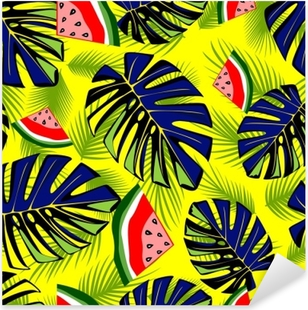 Seamless tropical pattern with green leaves and tasty watermelon. Pixerstick Sticker