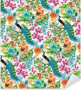 Seamless tropical pattern with peacocks and flowers. Pixerstick Sticker