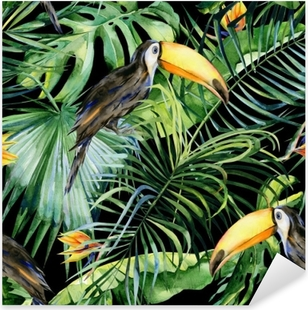 Seamless watercolor illustration of toucan bird. Ramphastos. Tropical leaves, dense jungle. Strelitzia reginae flower. Hand painted. Pattern with tropic summertime motif. Coconut palm leaves. Pixerstick Sticker