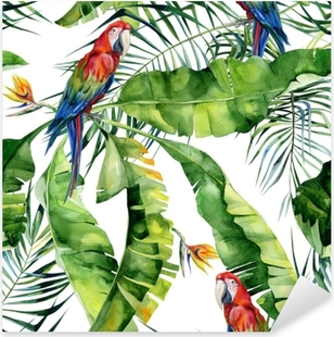 Seamless watercolor illustration of tropical leaves, dense jungle. Scarlet macaw parrot. Strelitzia reginae flower. Hand painted. Pattern with tropic summertime motif. Coconut palm leaves. Pixerstick Sticker