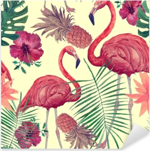 Seamless watercolor pattern with flamingo, leaves, flowers. Hanad drawn . Pixerstick Sticker