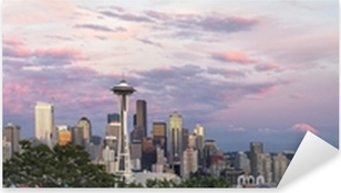 Seattle City Downtown Skyline at Sunset Panorama Pixerstick Sticker