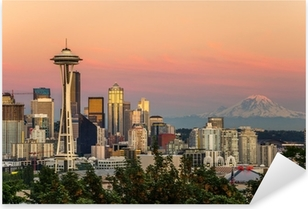 Seattle Skyline and Mount Rainier at Sunset Pixerstick Sticker