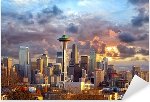 Seattle skyline at sunset, WA, USA Pixerstick Sticker