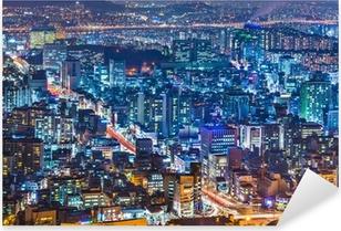 Pixerstick Sticker Seoel, Zuid-Korea Cityscape