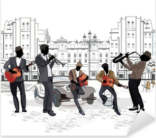 Series of street views with musicians Pixerstick Sticker