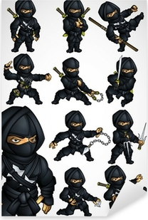 Set of 11 Ninja poses in a black suit Pixerstick Sticker
