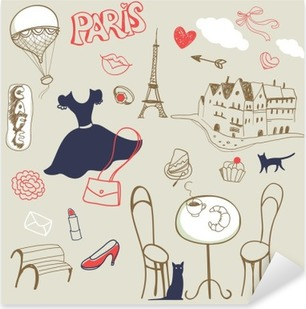 set of hand drawn symbols of Paris Pixerstick Sticker