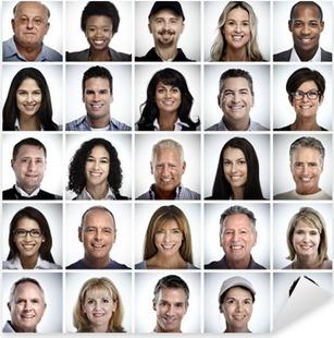 Pixerstick Sticker Set van lachende mensen worden geconfronteerd.