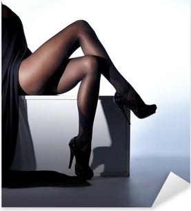 Sexy female legs in black erotic stockings and high heels Pixerstick Sticker