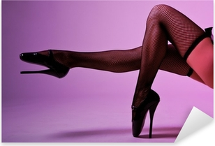 Sexy female legs in fishnet stockings and extreme fetish ballet Pixerstick Sticker